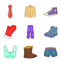fashion clothes icon set cartoon style vector image