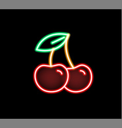 fashion glow neon light cherry flat vector image