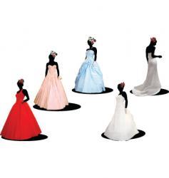 Five brides vector