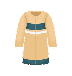 Flat womens faux fur coat womens clothing vector