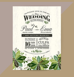 floral wedding invitation card with green leaves vector image
