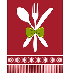 Fork spoon and knife christmas background vector