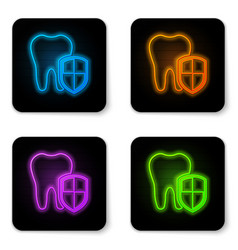 glowing neon dental protection icon isolated on vector image