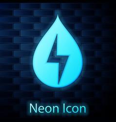 glowing neon water energy icon isolated on brick vector image