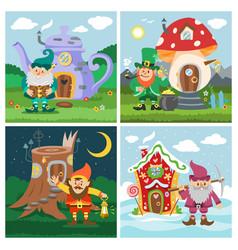 gnome fantasy house cartoon fairy treehouse vector image