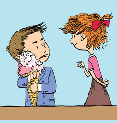 greedy boy with a big ice cream cone and the girl vector image
