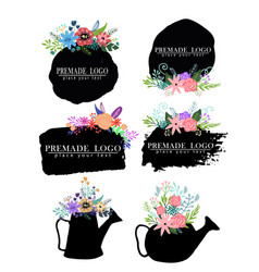 hand drawn cute floral logo template vector image