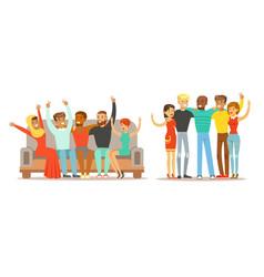 happy people various nationalities standing vector image