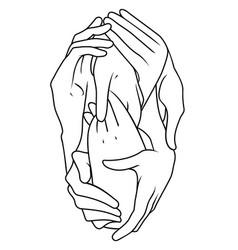 Interlaced hands vector