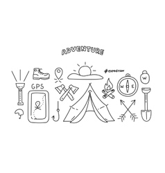 Line style objects for adventure and travel vector image