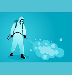 Man in protective suit spraying disinfectant to vector