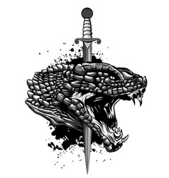 monochromatic snake and knife old school tattoo vector image