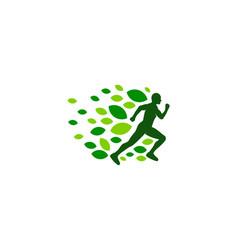 Nature run logo icon design vector