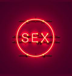 Neon banner sex text vector