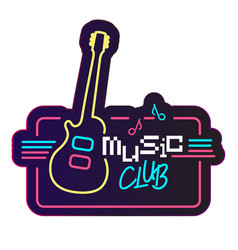 neon music club guitar background image vector image