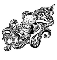 octopus sea drawing tattoo 2 vector image