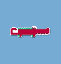 Paper sticker on stylish background crocodile vector