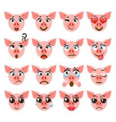 pink cute pig emoji emoticon expression funny vector image