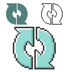 Pixel icon recycling arrows in three variants vector