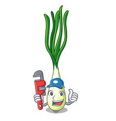 Plumber fresh scallion isolated on the mascot vector