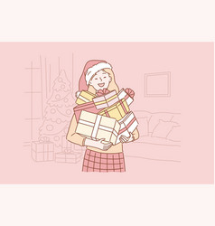 positive successful emotional santa girl concept vector image
