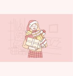 Positive successful emotional santa girl concept vector