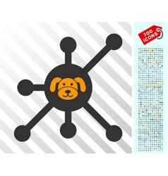 Puppycoin node flat icon with bonus vector
