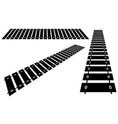 Railway railroad in perspective vector