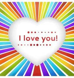 Rainbow heart background with declaration love vector