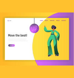 retro disco dancer character website template vector image