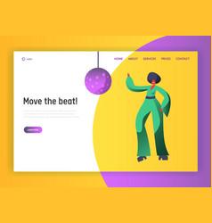 Retro disco dancer character website template vector