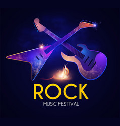 rock festival design template with shining guitars vector image
