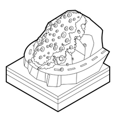 Rockfall icon in outline style vector