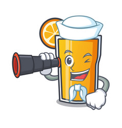 sailor with binocular orange juice mascot cartoon vector image