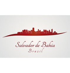 Salvador de Bahia skyline in red vector image