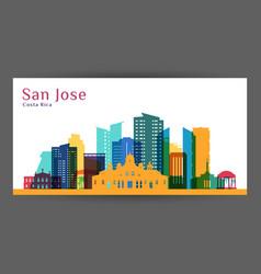 san jose city costa rica architecture silhouette vector image
