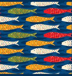 Sardine shoal fish seamless pattern of vector