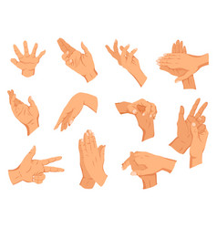 set human hands gestures different human vector image