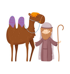 Shepherd with camel manger nativity merry vector
