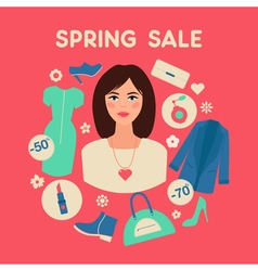 Shopping Spring Sale in Flat Design with Woman vector image