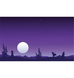 Silhouette of snowman and full moon christmas vector image