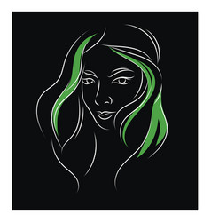simple black green and white portrait sketch a vector image