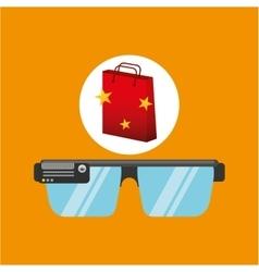 Smart glasses red bag gift star design vector