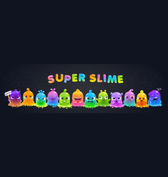super slime horizontal banner funny cute cartoon vector image