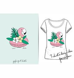 t shirt of cute flamingo for sea vector image