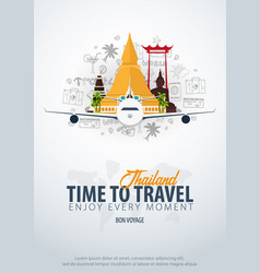 Thailand time to travel banner with airplane vector