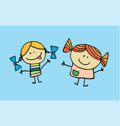 the little two girls have got a friendship vector image