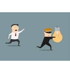Thief stealing idea from businessman vector