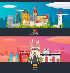 Travel to portugal and spain skyline flat vector