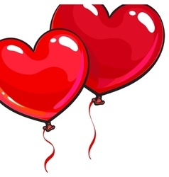 Two bright and colorful heart shaped balloons vector